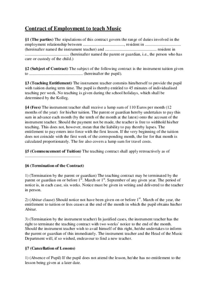 English: Contract of Employment to teach Music